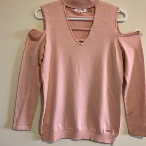 Calvin Klein|Cut-out Shoulder Crop-top Sweatshirt